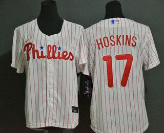 Youth Philadelphia Phillies #17 Rhys Hoskins White Stitched MLB Cool Base Nike Jersey