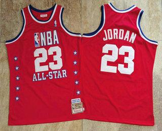 NBA 1989 All-Star #23 Michael Jordan Red Hardwood Classics Soul AU Throwback Jersey
