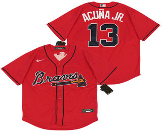 Men's Atlanta Braves #13 Ronald Acuna Jr. Red Stitched MLB Cool Base Nike Jersey