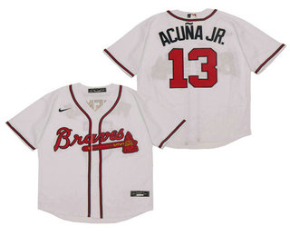 Men's Atlanta Braves #13 Ronald Acuna Jr. White Stitched MLB Cool Base Nike Jersey