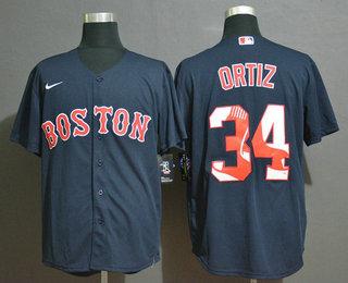 Men's Boston Red Sox #34 David Ortiz Navy Blue Team Logo Stitched MLB Cool Base Nike Jersey