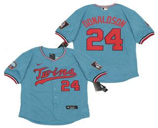Men's Minnesota Twins #24 Josh Donaldson Light Blue Stitched MLB Flex Base Nike Jersey