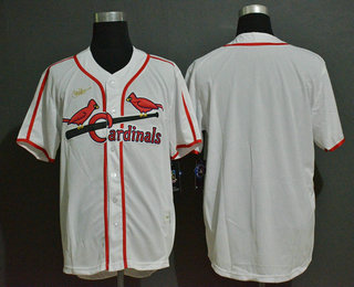 Men's St. Louis Cardinals Blank White Throwback Cooperstown Stitched MLB Cool Base Nike Jersey