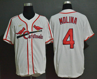 Men's St. Louis Cardinals #4 Yadier Molina White Throwback Cooperstown Stitched MLB Cool Base Nike Jersey