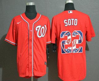 Men's Washington Nationals #22 Juan Soto Red Team Logo Stitched MLB Cool Base Nike Jersey