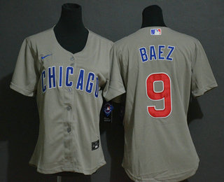 Women's Chicago Cubs #9 Javier Baez Gray Stitched MLB Cool Base Nike Jersey