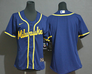 Women's Milwaukee Brewers Blank Navy Blue Stitched MLB Cool Base Nike Jersey