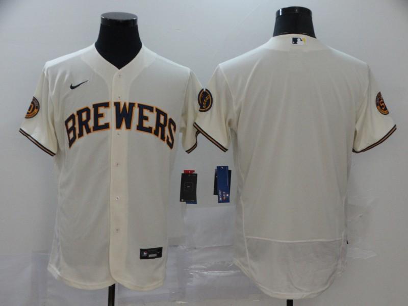 Men's Milwaukee Brewers Blank Cream Stitched MLB Flex Base Nike Jersey