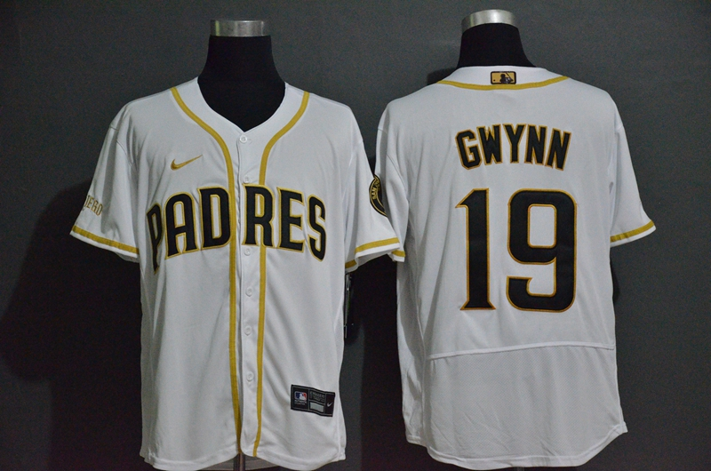 Men's San Diego Padres #19 Tony Gwynn White With Gold Stitched MLB Flex Base Nike Jersey