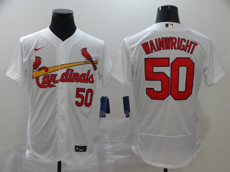 Men's St. Louis Cardinals #50 Adam Wainwright White Stitched MLB Flex Base Nike Jersey