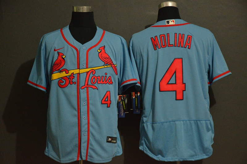 Men's St. Louis Cardinals #4 Yadier Molina Light Blue Stitched MLB Flex Base Nike Jersey