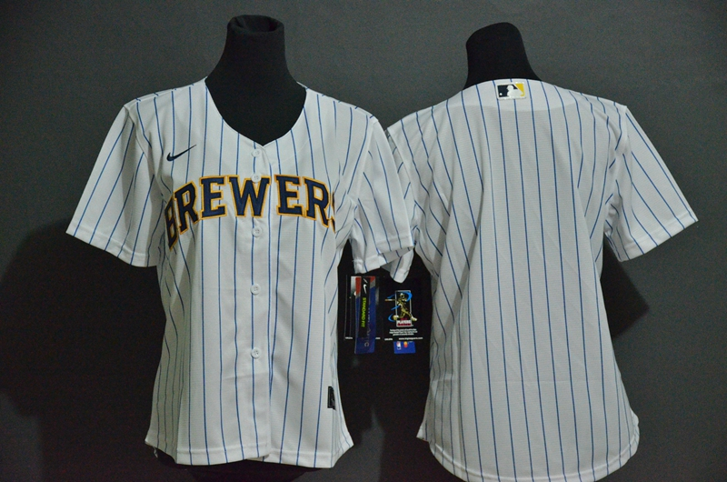 Women's Milwaukee Brewers Blank White Stitched MLB Cool Base Nike Jersey