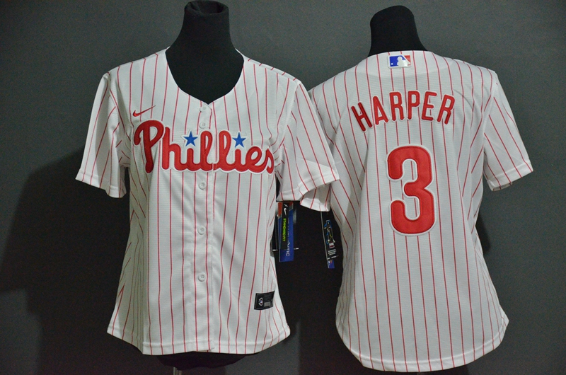Women's Philadelphia Phillies #3 Bryce Harper White Stitched MLB Cool Base Nike Jersey