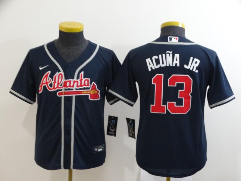 Youth Atlanta Braves #13 Ronald Acuna Jr. Navy Blue Stitched MLB Cool Base Nike Jersey