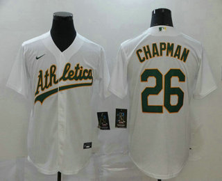 Men's Oakland Athletics #26 Matt Chapman White Stitched MLB Cool Base Nike Jersey