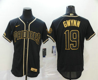 Men's San Diego Padres #19 Tony Gwynn Black With Gold Stitched MLB Flex Base Nike Jersey