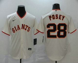 Men's San Francisco Giants #28 Buster Posey Cream Stitched MLB Cool Base Nike Jersey
