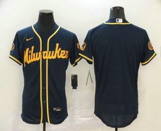 Men's Milwaukee Brewers Blank Navy Blue Stitched MLB Flex Base Nike Jersey
