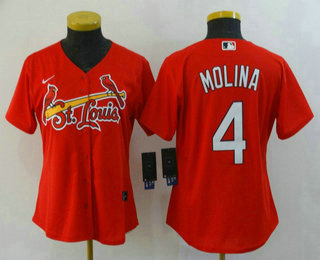 Women's St. Louis Cardinals #4 Yadier Molina Red Stitched MLB Cool Base Nike Jersey