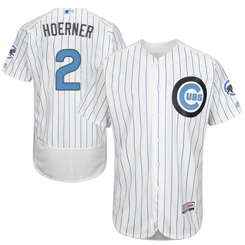 Men's Chicago Cubs #2 Nico Hoerner White 2016 Father's Day Fashion Baseball Flex Base Jersey