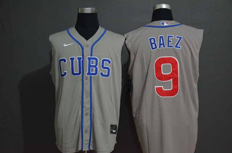 Men's Chicago Cubs #9 Javier Baez Grey 2020 Cool and Refreshing Sleeveless Fan Stitched MLB Nike Jersey