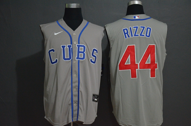 Men's Chicago Cubs #44 Anthony Rizzo Grey 2020 Cool and Refreshing Sleeveless Fan Stitched MLB Nike Jersey