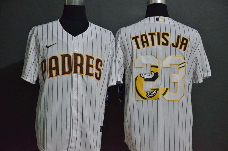 Men's San Diego Padres #23 Fernando Tatis Jr. White Team Logo Stitched MLB Cool Base Nike Jersey