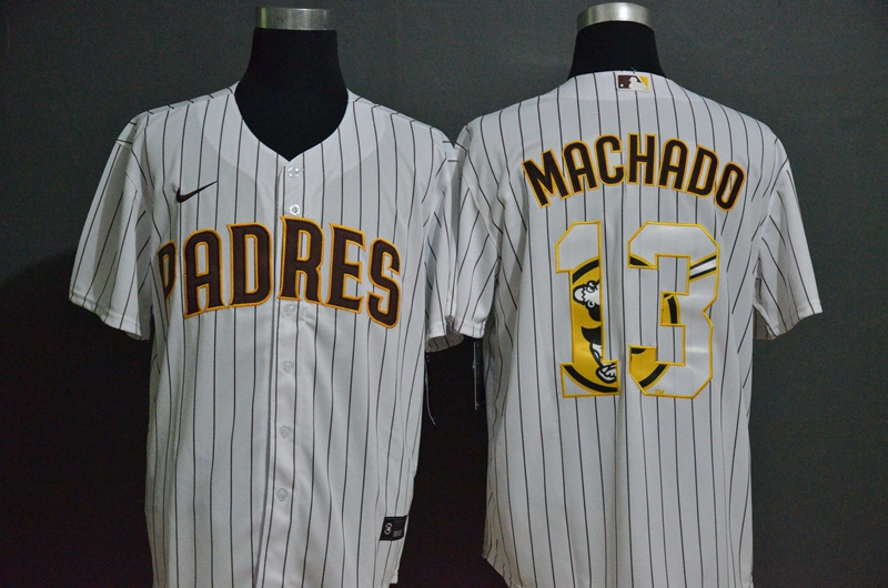 Men's San Diego Padres #13 Manny Machado White Team Logo Stitched MLB Cool Base Nike Jersey