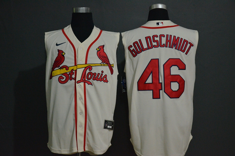 Men's St. Louis Cardinals #46 Paul Goldschmidt Cream 2020 Cool and Refreshing Sleeveless Fan Stitched MLB Nike Jersey