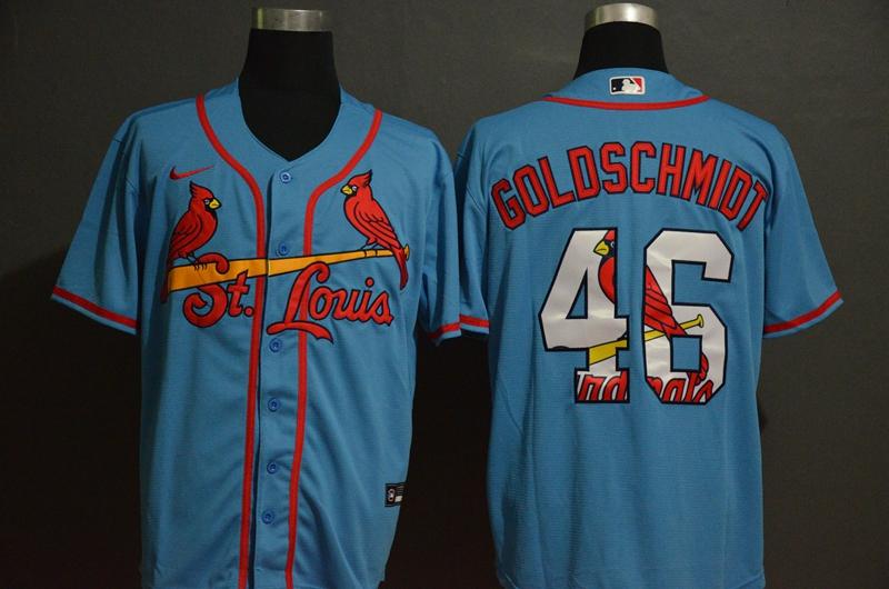 Men's St. Louis Cardinals #46 Paul Goldschmidt Light Blue White Team Logo Stitched MLB Cool Base Nike Jersey