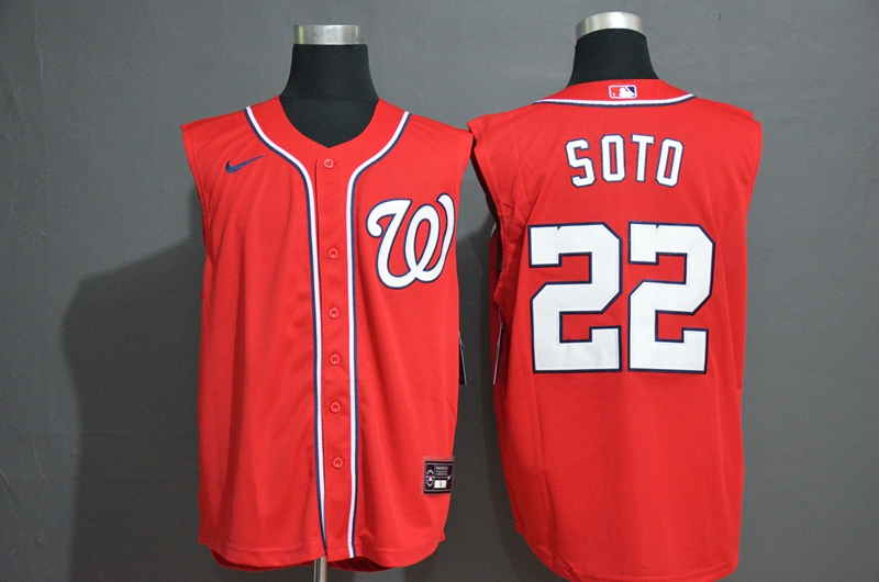 Men's Washington Nationals #22 Juan Soto Red 2020 Cool and Refreshing Sleeveless Fan Stitched MLB Nike Jersey