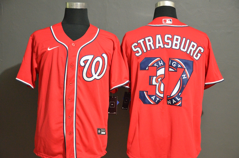 Men's Washington Nationals #37 Stephen Strasburg Red Team Logo Stitched MLB Cool Base Nike Jersey