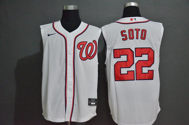 Men's Washington Nationals #22 Juan Soto White 2020 Cool and Refreshing Sleeveless Fan Stitched MLB Nike Jersey
