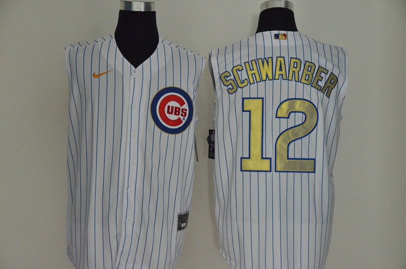 Men's Chicago Cubs #12 Kyle Schwarber White Gold 2020 Cool and Refreshing Sleeveless Fan Stitched MLB Nike Jersey