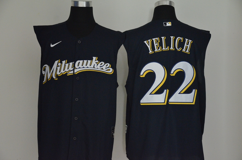 Men's Milwaukee Brewers #22 Christian Yelich Navy Blue 2020 Cool and Refreshing Sleeveless Fan Stitched MLB Nike Jersey