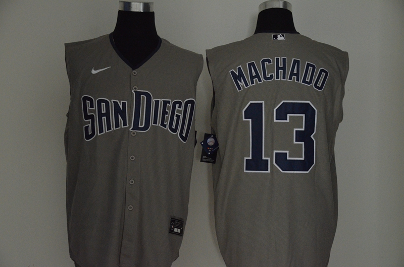 Men's San Diego Padres #13 Manny Machado Gray 2020 Cool and Refreshing Sleeveless Fan Stitched MLB Nike Jersey