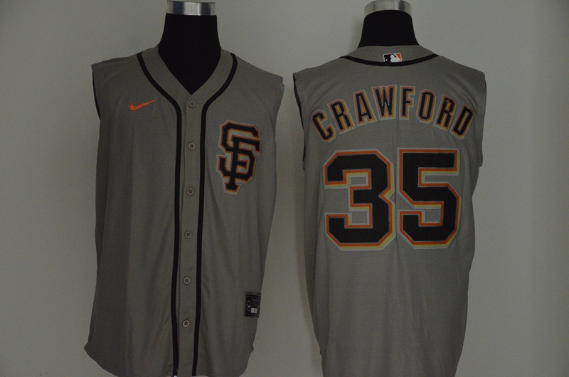 Men's San Francisco Giants #35 Brandon Crawford Gray 2020 Cool and Refreshing Sleeveless Fan Stitched MLB Nike Jersey
