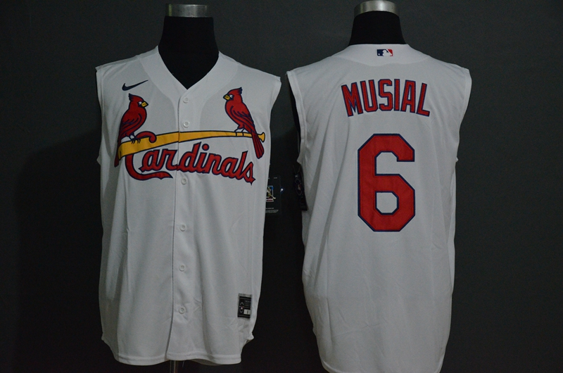 Men's St. Louis Cardinals #6 Stan Musial White 2020 Cool and Refreshing Sleeveless Fan Stitched MLB Nike Jersey