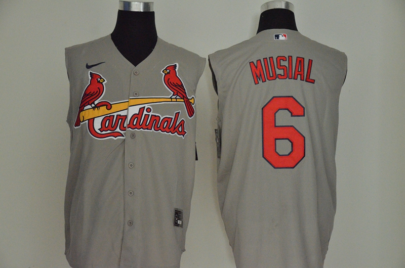 Men's St. Louis Cardinals #6 Stan Musial Gray 2020 Cool and Refreshing Sleeveless Fan Stitched MLB Nike Jersey