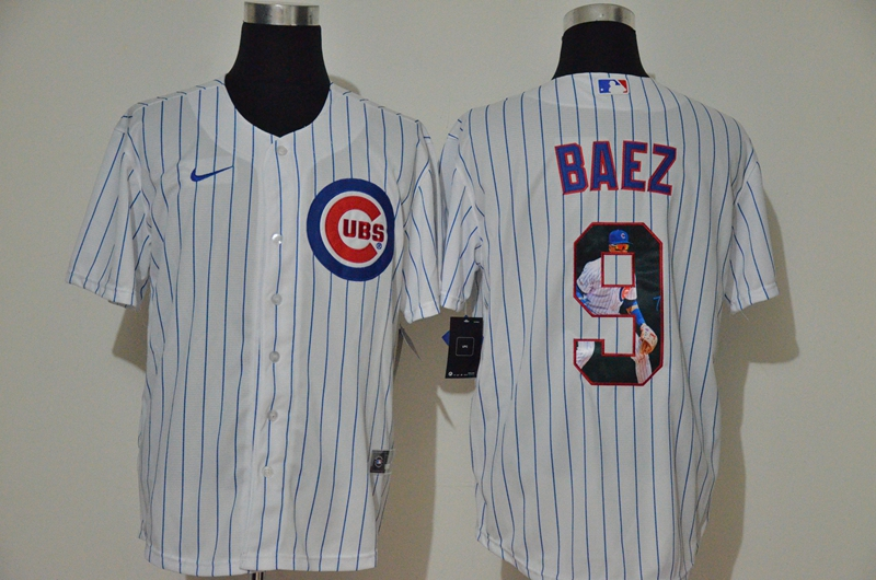 Men's Chicago Cubs #9 Javier Baez White Unforgettable Moment Stitched Fashion MLB Cool Base Nike Jersey