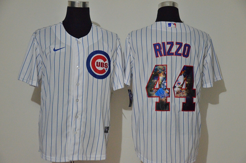 Men's Chicago Cubs #44 Anthony Rizzo White Unforgettable Moment Stitched Fashion MLB Cool Base Nike Jersey