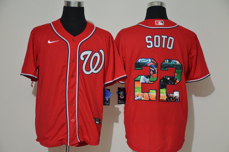 Men's Washington Nationals #22 Juan Soto Red Unforgettable Moment Stitched Fashion MLB Cool Base Nike Jersey
