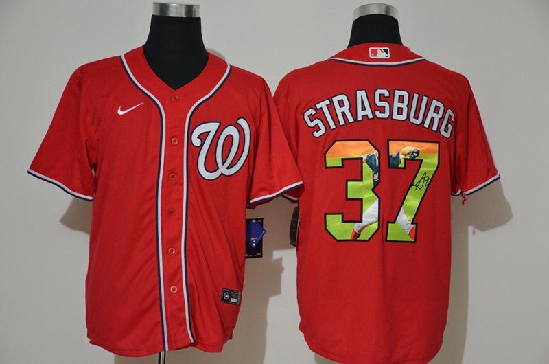 Men's Washington Nationals #37 Stephen Strasburg Red Unforgettable Moment Stitched Fashion MLB Cool Base Nike Jersey