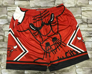 Men's Chicago Bulls Red Big Face Mitchell Ness Hardwood Classics Soul Swingman Throwback Shorts