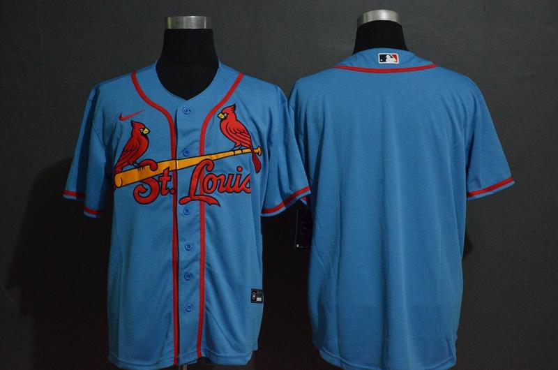 Men's St. Louis Cardinals Blank Light Blue Stitched MLB Cool Base Nike Jersey