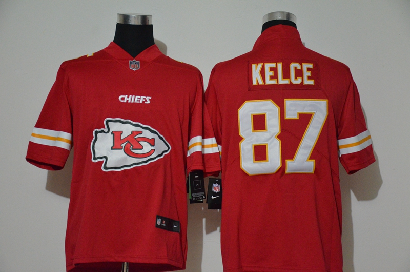 Men's Kansas City Chiefs #87 Travis Kelce Red 2020 Big Logo Vapor Untouchable Stitched NFL Nike Fashion Limited Jersey