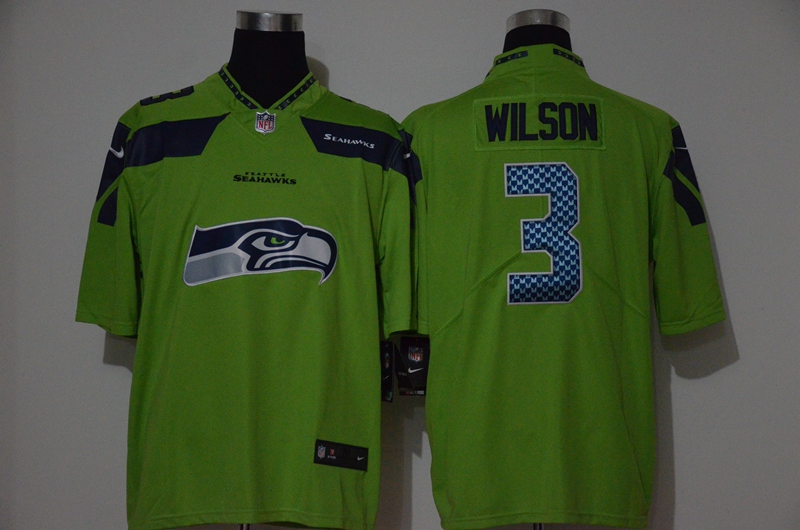 Men's Seattle Seahawks #3 Russell Wilson Green 2020 Big Logo Vapor Untouchable Stitched NFL Nike Fashion Limited Jersey