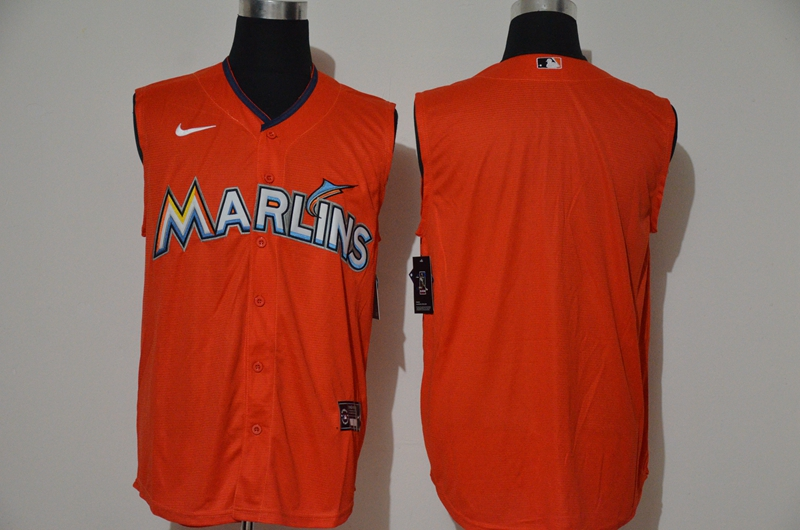 Men's Miami Marlins Blank Orange 2020 Cool and Refreshing Sleeveless Fan Stitched MLB Nike Jersey