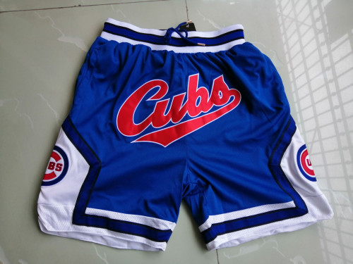 Men's Chicago Cubs JUST DON Basketball Shorts Blue Zipper Pants MLB