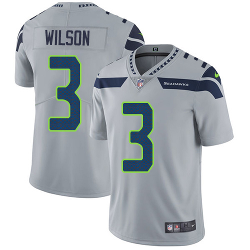 Youth Nike Seattle Seahawks #3 Russell Wilson Grey Alternate Stitched NFL Vapor Untouchable Limited Jersey